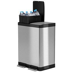 iTouchless SoftStep Dual Compartment Trash Can Recycler, 16