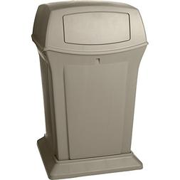 Rubbermaid 45 gal. Square Beige Trash Can w/ Lid, FG917188BE
