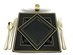 Premium Square Black and Gold Rim Disposable Plastic Plates