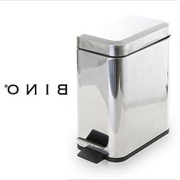 BINO Stainless Steel 1.3 Gallon/5 Liter Rectangle Step Trash
