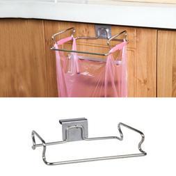 Stainless Steel Door Garbage Trash Bag Towel Can Rack Holder