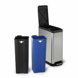 Home Zone Stainless Steel Kitchen Trash Can with Dual Compar