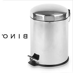 BINO Stainless Steel 1.3 Gallon / 5 Liter Round Step Trash C