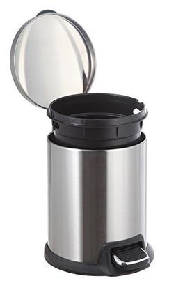 Home Zone Set of 2 5-Liter Stainless Steel Round Step Trash