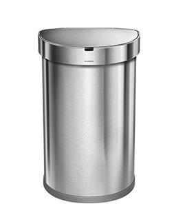 simplehuman Stainless Steel Semi-Round Sensor Can, Touch-Fre
