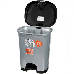 Stainless Steel Textured 7-Gal Step-On Trash Can W/ Lid Lock