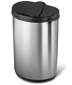 Nine Stars Stainless Steel 12.4-Gallon Trash Can With Lid Ha