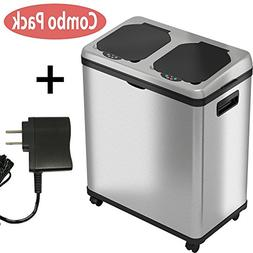 iTouchless Stainless Steel Trash Can/Recycler with AC Adapte