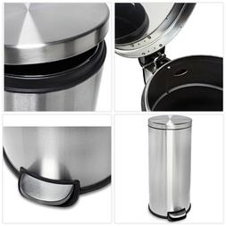 STEP ON TRASH CAN Stylish Kitchen Round Stainless Steel Garb