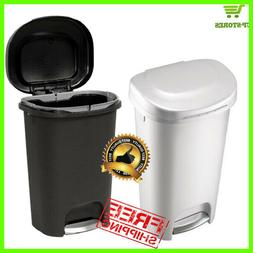 Step-On Waste Basket Plastic Trash Can 13 Gal Rubbermaid Kit