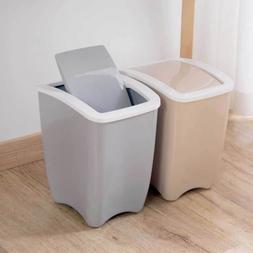 Swing Lid Cover Wastebasket Rubbish Garbage Bin Trash Can Pl