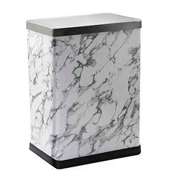 Wghfwx Swing Trash Can Stainless Steel Square Double Metal H