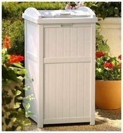 Taupe Outdoor Resin Trash Can Garbage Waste Bin with Lid Pat