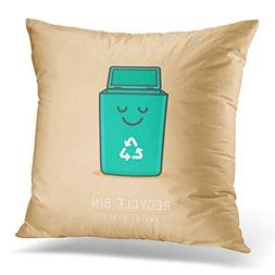 UPOOS Throw Pillow Cover Green Can Recycle Bin Cartoon Cute