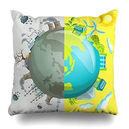 Asoco Throw Pillow Covers, Cartoon Clean Energy Double-sided
