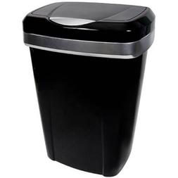 Hefty Premium Touch Lid 12.2-Gal Black Trash Can by Hefty