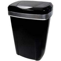 Hefty Premium Touch Lid 12.2-Gal Trash Can, Black
