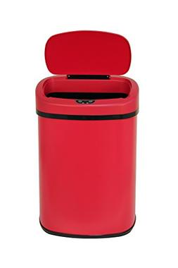 13-Gallon Touch Free Sensor Automatic Trash Can Red