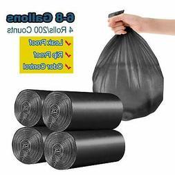6-8 Gallon/200pcs Trash Bags, Yachee Medium Bathroom Trash c