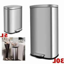 Trash Can 30+5 L Combo Set, Stainless Steel Rectangular Garb