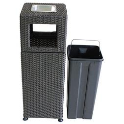 Outdoor Trash Can, Plastic Rattan Garden Recycling Station,