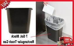 Trash Can 7 Gal Waste Garbage Home Office Black Rectangular