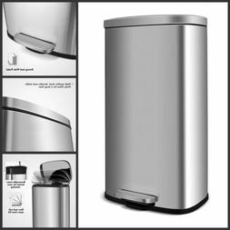 Trash Can 8 Gallon Stainless Steel Garbage Bin Silent Step H