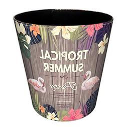 Trash Can, Hmane PU British Style Flamingo Pattern Trash Bin