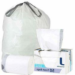 Plasticplace Trash Can Bags 50Pcs Liter White Drawstring Gar