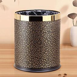 GJ Trash Can 10L Metal Coverless Trash Can Rubber Bottom Mul