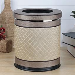 GJ Trash Can 10L Metal Has Cover PU Trash Can Rubber Bottom