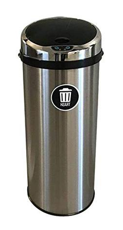 Galapagoz 13 Gallon Trash Can Round Stainless Steel Automati