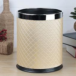 GJ Trash Can 10L Stainless Steel Coverless Trash Can Rubber