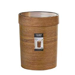 HMANE 10L Trash Can Swing Top,Plastic Retro Style Wood Grain