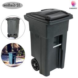 Trash Can Wheel With Lid Outdoor Hinged Recycle Garbage Roll