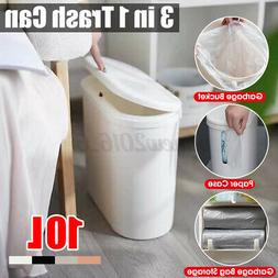 Trash Can With Push-type Cover 10L Garbage Bag & Paper Stora