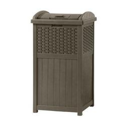 Suncast Trash Hideaway 33 Gallon Capacity Resin Wicker Outdo