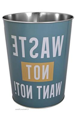 "Turquoise ""Waste Not Want Not"" 9.5"" Metal Waste Basket Trash"