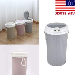 US Plastic Portable Trash Can Garbage Bin Lid Home Bathroom