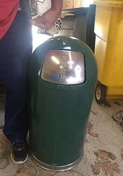 United Vintage Industrial Trash Can Lid green metal steel ga