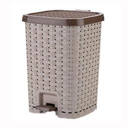 Jueven Vintage Rattan Kitchen Pedal Trash Can Home Creative