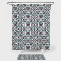 iPrint Vintage Shower Curtain And Floor Mat Combination Set