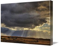 Imagekind Wall Art Print entitled Sun Rays Through Clouds Ov