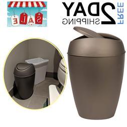 Waste Garbage Basket Trash Can With Swing Lid 2.2gal Bin Cle