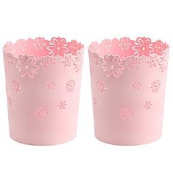 HMANE Wastebasket, 2Pcs Hollow Flower Shape Plastic Lidless