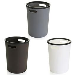 XSHION 3 Pack Wastebasket, 2 Gallon Plastic Trash Can with H