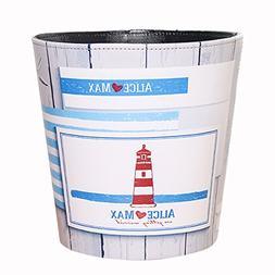 Haoun Wastebasket, European Style Ocean Pattern PU Leather T