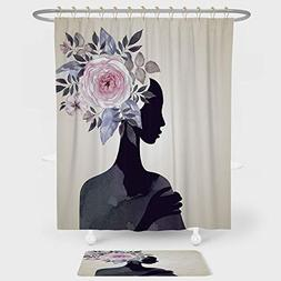 iPrint Watercolor Shower Curtain And Floor Mat Combination S