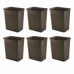 Weave Plastic Trash Can 3.4 Gal. Brown Case Of 6 Home Waste
