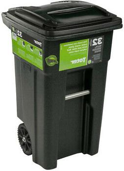 wheeled trash can 32 gal attached lid